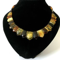 Wide flat necklace of Baltic amber (not pressed) - length 48cm, width 24mm -