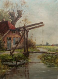 Muller (20th century) - Farm with drawbridge