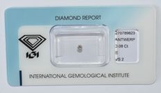 0.08 ct brilliant cut diamond, E, VS2