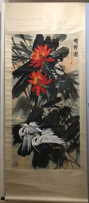 Hand painted scroll painting lotus - China - late 20th century