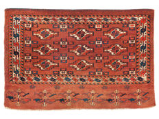 Turkmenistan-Yomud, Chuval, Hand-knotted, Plant-based dye , Circa 1880, Size: 121 x 82 cm. (47.6 x 32.3 inch)