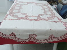Tablecloth big enough to seat 8 people + 8 napkins made of old linen with embroidery and Brussels lace - Belgium - early 20th century