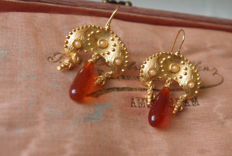 Old earrings with droplet Carnelian cultured seed pearls