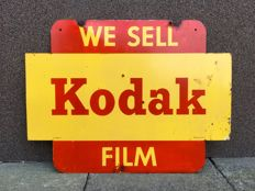 Vintage old original Kodak double sided sign advertising enamel 1950s