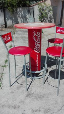 Coca Cola table and 3 chairs, 1980s