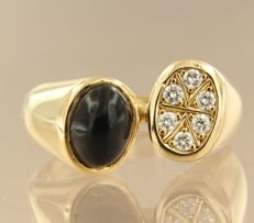 14k yellow gold ring set with a cabochon cut onyx and 6 brilliant cut diamonds in total approx. 0.28 carat ring size 17 (53)