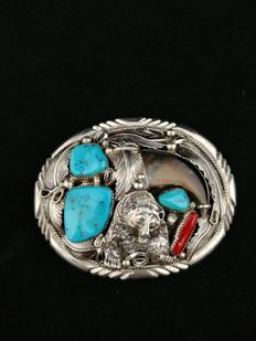 Native American silver belt buckle with coral and turquoises — Second half of the 20th century