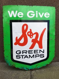 Original enamel advertising Green Stamps double sided 1950s