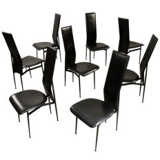 Giancarlo Vegni for Fasem, 8 calfskin chairs, model S44
