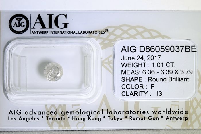 AIG Sealed Diamond – 1.01 ct – No reserve price