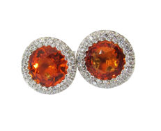 Stud Earrings Halo with Orange Sapphires Diamond