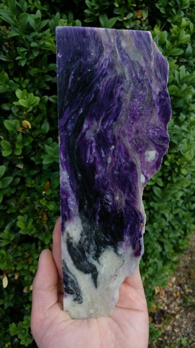 Beautiful polished natural Charoite stone - 24 x 8 x 0.9 cm - 378 gm