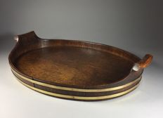 Oak wooden tray with brass strips - England - early 20th century