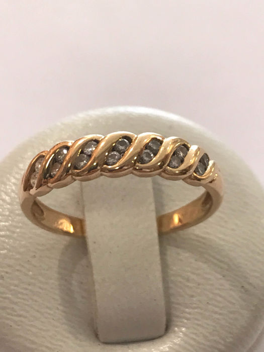 Wedding ring in 18 kt Yellow Gold and Diamonds – size 54