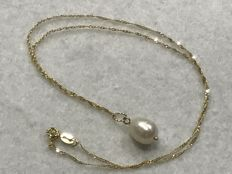 18 kt Gold choker with cultured pearl pendant - 44.80 cm