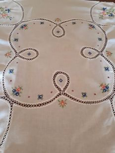 Romantic hand embroidered tablecloth - Italy.