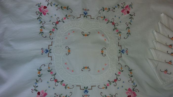 Hand-embroidered linen ancient tablecloth