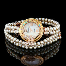 Difeini 18K Rose Gold Plated Ladies Fancy Bracelet Watch with Jewelry Stone and Pearl - 2015