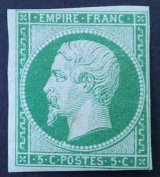 France 1854 – Napoleon III, 5 c. green, signed by Calves with digital certificate – Yvert n° 12