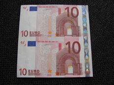 European Union - Germany - 2 x 10 euros Duisenberg - Intentionally cut wrong from a large sheet