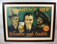"""""""Dommelsch beer"""" wall decoration in wooden frame with glass"""