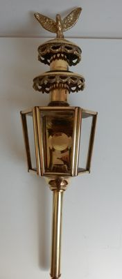 Large brass carriage lamp with eagle