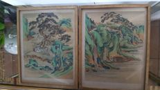 2 ANTIQUE Paintings on silk mythological subject - China - late 19th century