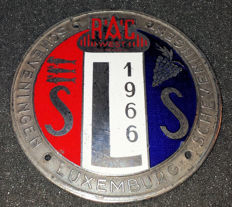 Enamelled commemorative medal / badge R.A.C. West Den Haag 1966 - Scheveningen - Luxemburg - Scheveningen