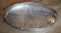 Oval decorative serving tray, Alpha the Cutlers company 1836, Sheffield, early 20th century