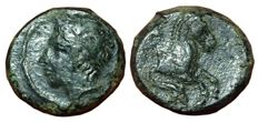 Greek Antiquity - Italy, Sicily, Panormos-Ziz - Æ (14mm; 2,82g,), c. 336-330 BC - Head of Apollo / Forepart of horse - CNS 12 - Rare
