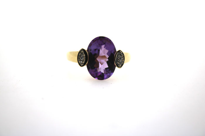 Ladies' ring made of 585 gold with amethyst – size 61
