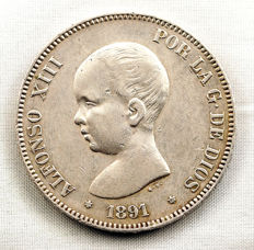 Spain – Alfonso XIII – 5 Pesetas silver coin – 1891 – Madrid