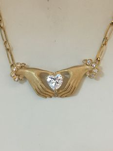 Gold choker with cubic zirconia, 18 kt gold. 20 cm.