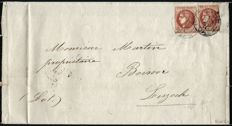 France 1870 – Bordeaux issue No. 40 report II, two stamps on an envelope signed by Calves and Roumet – Yvert No. 40 report II