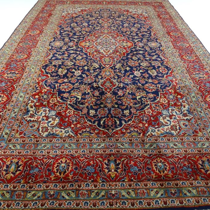 "KESHAN – Iran – 402 x 245 cm – ""Special Persian carpet in blue"" – 2nd half previous century"