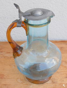 Ancient carafe - decanter, in Murano glass with lid