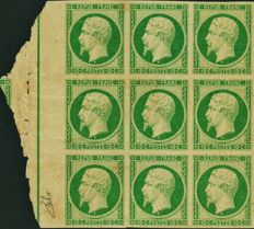 France 1852 – Presidency 10 centimes No. 9, proofs on thin paper without gum, in green, block of 9 with border rule and interpanel signed by Behr