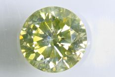 Greenish Yellow diamond  – 0.39 ct –  SI2  – (treated for colour) – No Reserve Price