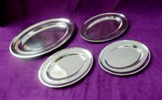 Arthur Krupp - Berndorf, 4 heavily silver plated oval serving trays