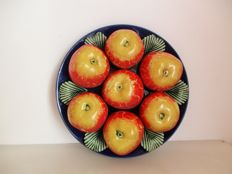 Rare Portuguese Polychrome Faience - Plate with apples