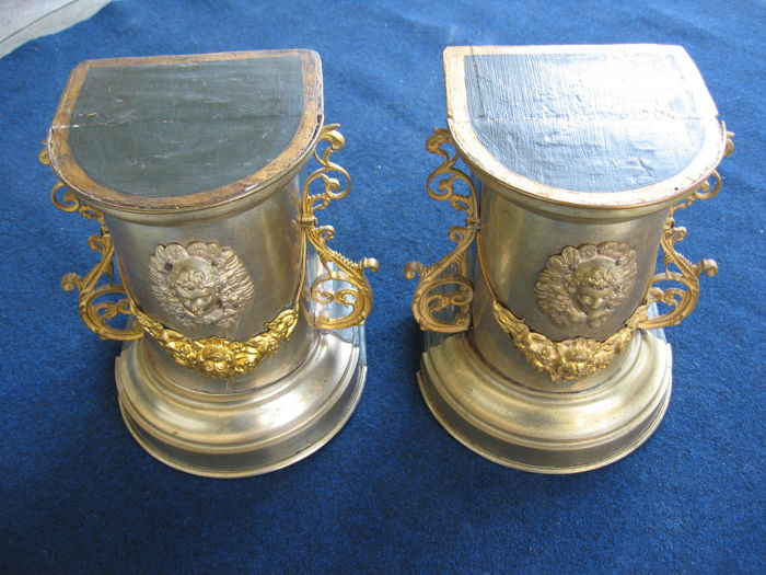 A pair of silver and ormolu plated wood stands - early 20th century