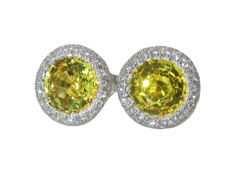 Stud Earrings Halo with Yellow Sapphires Diamond