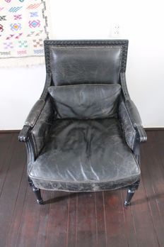 Leather classic armchair with lumbar cushion in Louis XVI style, second half 20th century