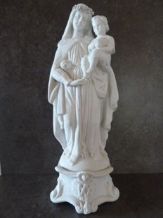 Biscuit statuette - Vierge Marie à l'enfant (Madonna and Child) - MAUGER Henri - France - (late 19th century).