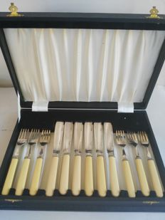12-piece silver plated Fish Cutlery Set with case, marked Hawksworth, Eyre & Co