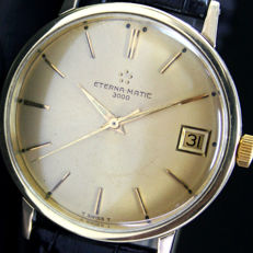 Eterna-matic 3000 Automatic Date Gold Cap Steel Mens Watch
