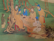 A scroll painting 《張大千-文會圖》, reproduction Zhang Daqian - China - late 20th century