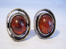 Handmade earrings with natural amber, signed, made circa 1935-40