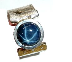 Men's ring - heavy goldsmith ring with 8.56 ct. Star sapphire - 0,03 ct Diamonds - size 69