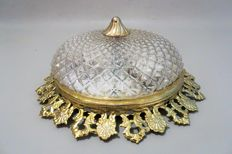 Copper ceiling light with a cut crystal coupe - Mid 20th century